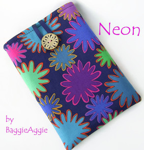 Neon brights Kindle Kobo Nook case sleeve cover pouch, children, kids, girls, purple, pink, baggieaggie, UK.