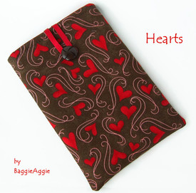 Wear your heart on your Kindle, Nook or Kobo sleeve! Scrumptious e-reader cases and covers for Kindle Paperwhite and Voyage, Kobo Aura and Glo, and Nook Simple Touch and GlowLight. UK top quality handmade. www.baggieaggie.com.