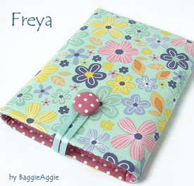 Funky floral polka dot pink and blue Kindle cases, Kobo covers, Nook sleeves.  Handmade in Wales, UK. www.baggieaggie.com.