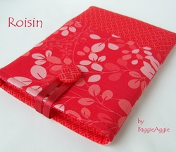 Red floral Kindle, Nook and Kobo eReader cases for women. UK handmade by BaggieAggie. www.baggieaggie.com