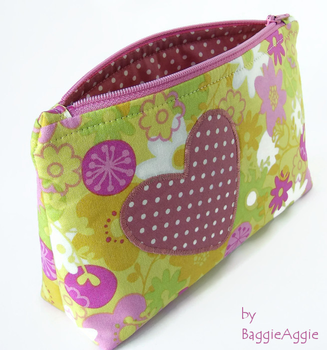 Appliqued Make Up Cosmetics Bag, pink, yellow, green. Mothers' Day gift. UK handmade. www.baggieaggie.com.