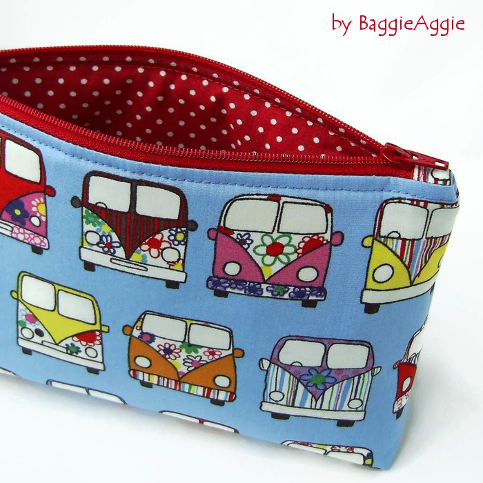 Funky VW campervans make up bag, cosmetics bag. Blue Multi. Red polka dots. Made in Wales, UK. www.baggieaggie.com.