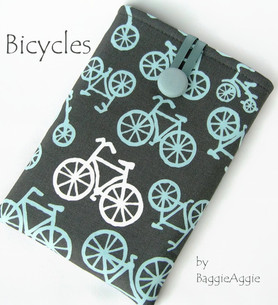 Bicycles - a funky case cover sleeve pouch for Kindle , Nook, and Kobo eReaders. Made in Wales, UK. Grey, aqua blue, www.baggieaggie.com.