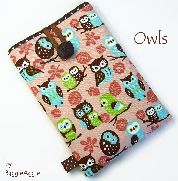 Pink OWLS Kindle, Nook and Kobo eReader cases / covers / sleeves / pouches. Made in Wales, UK by www.baggieaggie.com.