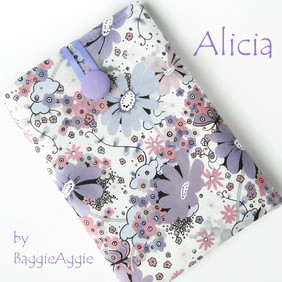 Alicia - pretty ladies' Kindle case in lavender, lilac and pink cotton fabric. Handmade in Wales, UK.