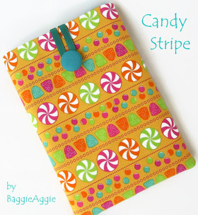 Candy Stripe Kindle case, NOOK cover, Kobo sleeve, ereader pouch, orange, turquoise, Wales UK, handmade, www.baggieaggie.com,