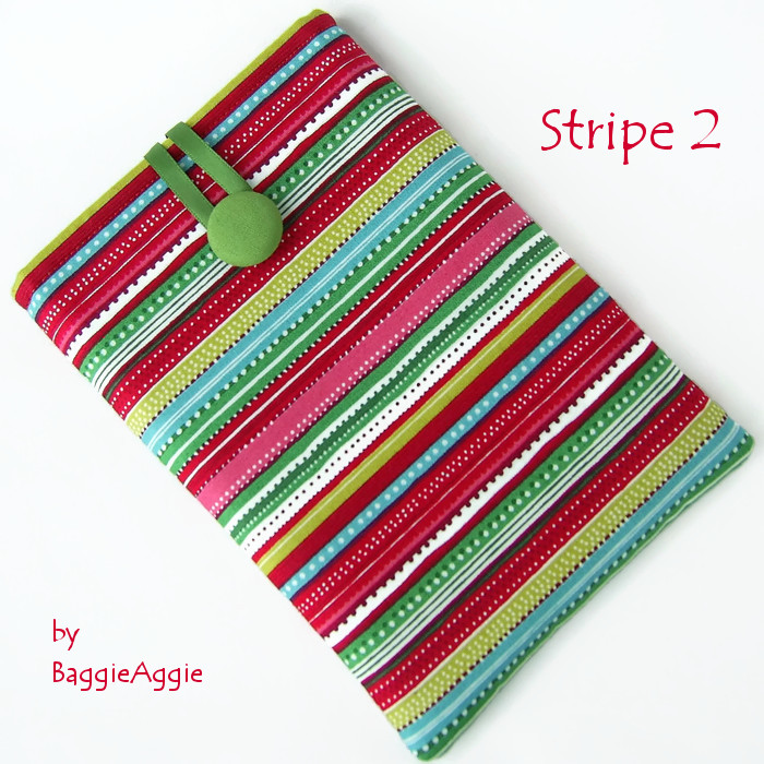Funky colourful striped Kindle, Kobo and Nook eReader cases covers sleeves pouches, made to order in Wales UK, for women and girls. ww.baggieaggie.com.