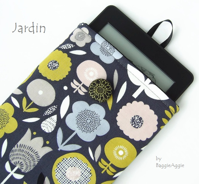 On trend Kindle, Nook and Kobo e-reader cases and covers in funky floral fabric in mustard yellow and grey / gray. UK handmade. www.baggieaggie.com.