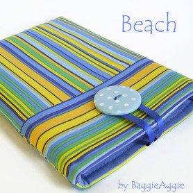 Unusual striped case sleeve cover for Nexus 7, Kindle Paperwhite, Kindle Fire, iPad Mini. Blue, yellow, green.